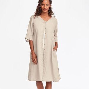 Flax Linen Button Down Night Duster Size Medium